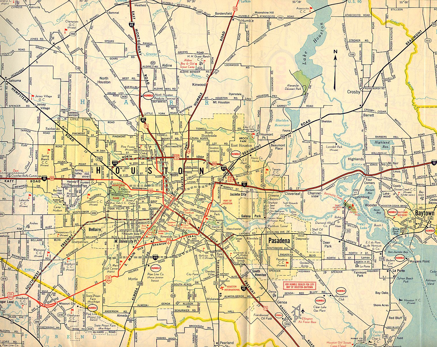 TexasFreeway Houston Historical Information Old Road Maps - Port of houston map