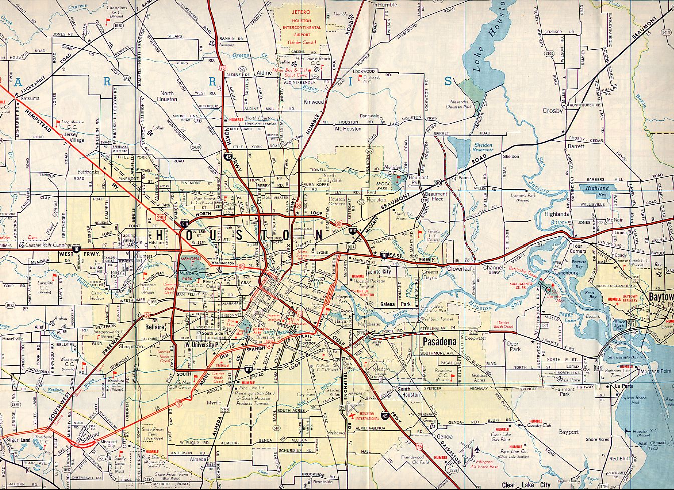medium resolution . texasfreeway  houston  historical information  old road maps