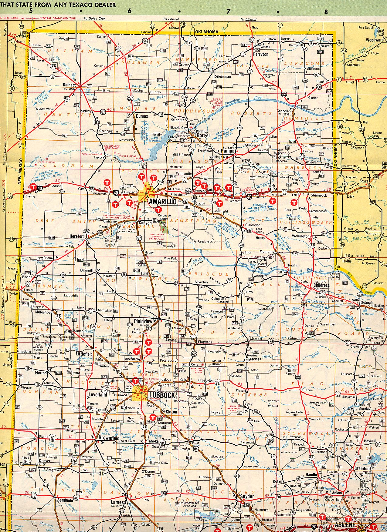 Complete Map Of Texas.Texasfreeway Statewide Historic Information Old Road Maps
